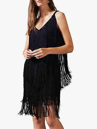 Phase Eight Missy Dip Dye Fringe Dress, Navy/Black