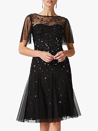 Phase Eight Collection 8 Molly Flared Sequin Dress, Black