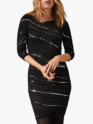 Phase Eight Saya Wave Sequin Dress, Gunmetal