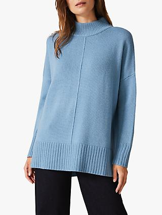 Phase Eight Sienna Lambswool Blend Turtle Neck Jumper, Blue