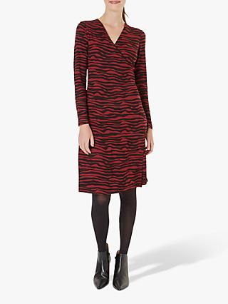 Hobbs Odyssey Dress, Burgundy/Black