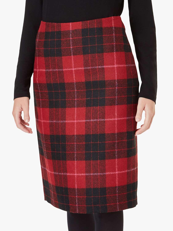 Hobbs Daphne Wool Skirt, Red/Black by Hobbs