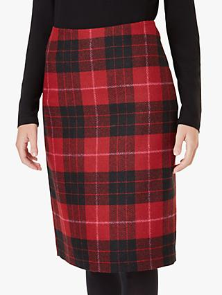 Hobbs Daphne Wool Skirt, Red/Black