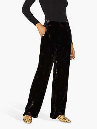 Jigsaw Velvet Rosebud Trousers, Black