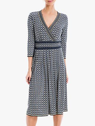Max Studio 3/4 Sleeve Mock Wrap Print Jersey Dress, Black/Blue