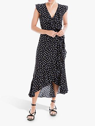 Max Studio Circle Print Wrap Dress, Black/Blue
