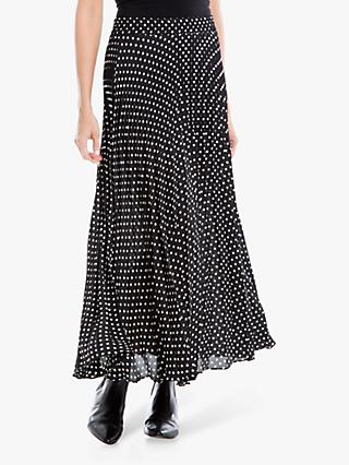 Max Studio Spot Print Pleated Skirt, Black/Ivory