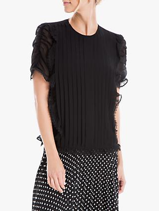 Max Studio Pleated Georgette Blouse, Black