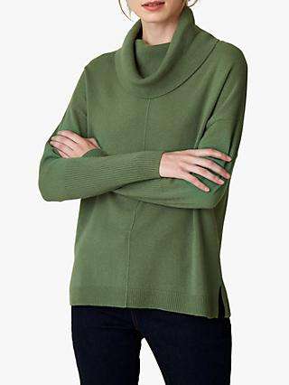 Jaeger Cashmere Reverse Stitch Slouchy Cowl Neck Jumper
