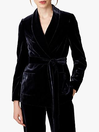 Jaeger Velvet Silk Blend Shawl Collar Jacket, Navy