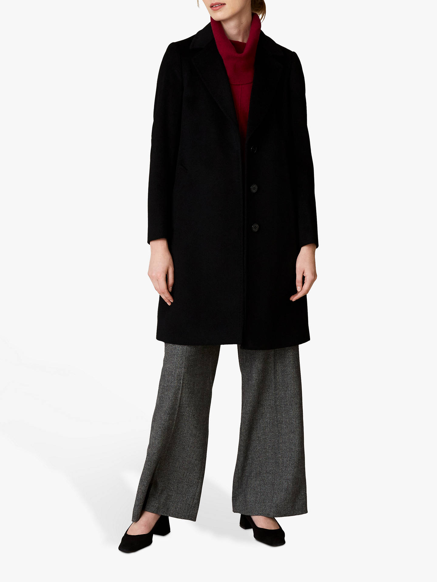 Buy Jaeger Wool Single Breasted A-Line Coat, Black, 18 Online at johnlewis.com
