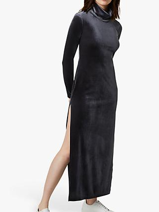 French Connection Stina Velvet Side Slit Dress, Iron Grey
