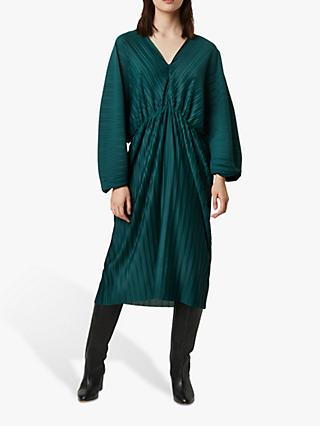 French Connection Regi Pleated Midi Dress, Dark Bayou Green