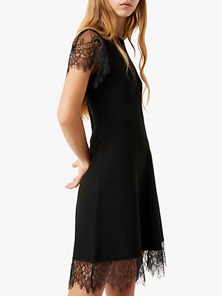 French Connection Madalyn Lula Velvet Jersey Dress, Black