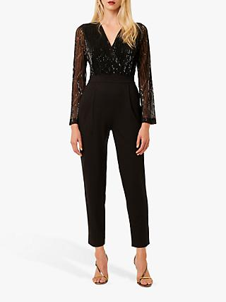French Connection Rubina Jersey Embellished Jumpsuit, Black