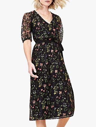 Oasis Floral Lace Midi Dress, Black