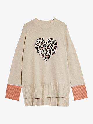 Oasis Halle Animal Print Heart Jumper