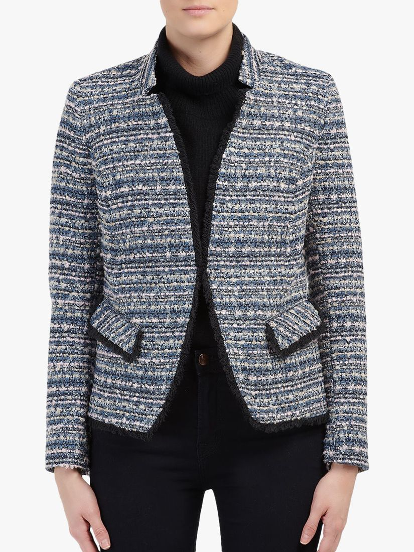 Helene For Denim Wardrobe Helene For Denim Wardrobe Double Breasted Tweed Boucle Jacket, Blue/Pink