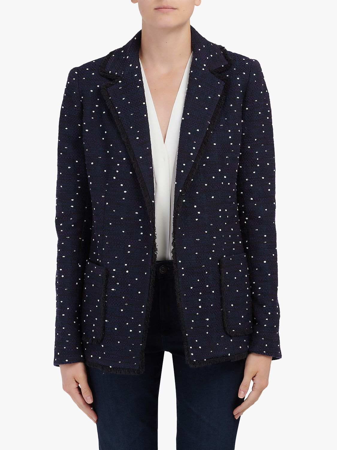 Helene For Denim Wardrobe Helene For Denim Wardrobe Edge To Edge Wool Blazer, Navy