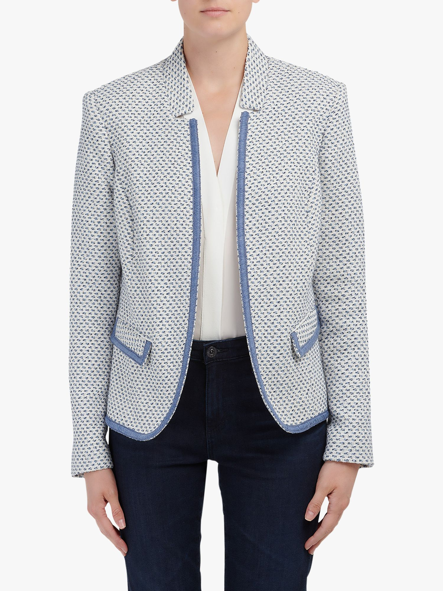 Helene For Denim Wardrobe Helene For Denim Wardrobe Amelia Notch Collar Jacket, Blue/Cream