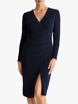 Fenn Wright Manson Petite Ambre Sparkle Wrap Dress, Navy Blue