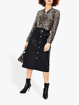 Oasis Faux Leather Button Front Midi Skirt, Black/Multi