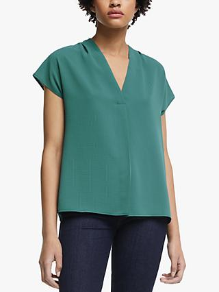 John Lewis & Partners Pleat Shoulder Textured Top