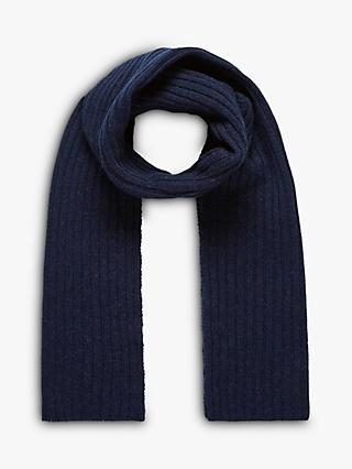 Brora Cashmere Rib Knit Scarf, French Navy
