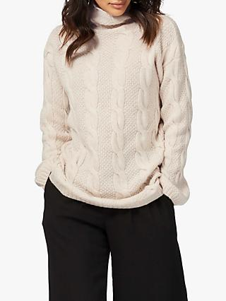 Brora Cashmere Cable Knit  Funnel Neck Jumper, Swan