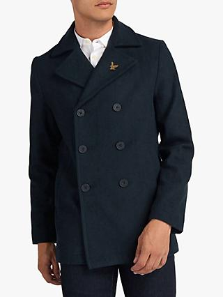Lyle & Scott Wool Blend Double Breasted Peacoat, Dark Navy