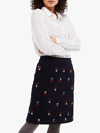White Stuff Pot Plant Straight Skirt, Navy/Multi
