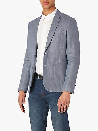 Paul Smith Linen Wool Puppytooth Jacket, Blue