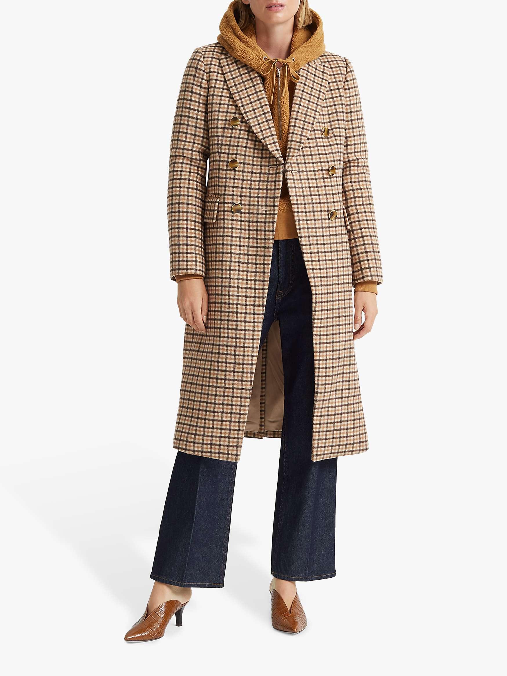 Club Monaco Jemma Check Wool Blend Coat, Camel by John Lewis