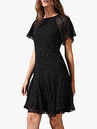 Phase Eight Nisha Sparkle Mini Dress, Black