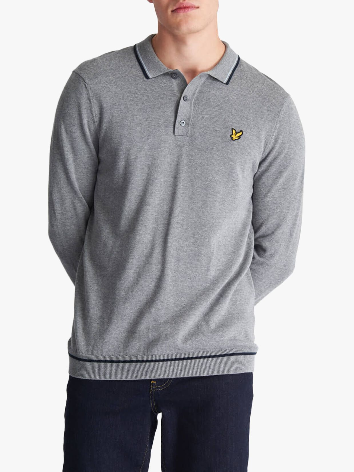 Lyle & Scott Lyle & Scott Knitted Long Sleeve Polo Shirt, Grey Marl