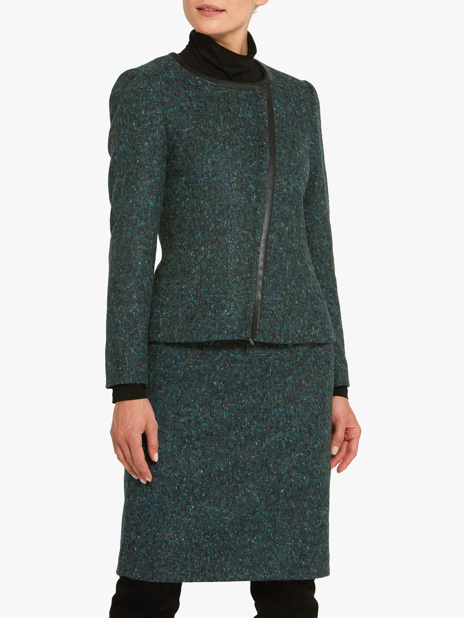 Helen McAlinden Helen McAlinden Blair Faux Leather Trim Jacket, Teal