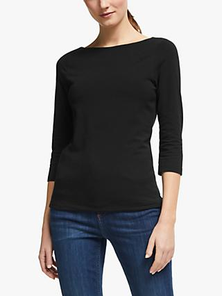 John Lewis & Partners 3/4 Sleeve Double Layer Cotton Stretch Boat Neck T-Shirt