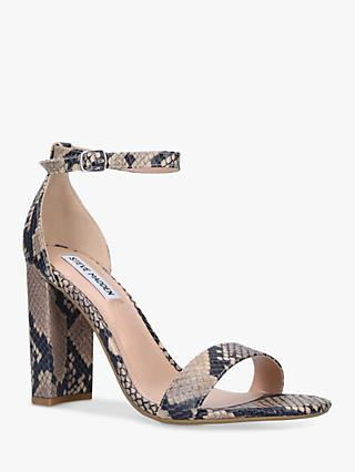 Steve Madden Carrson Two Part Suede Block Heel Sandals, Natural/Multi