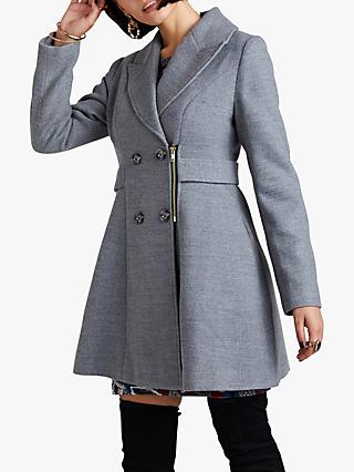 Yumi Military Zip Coat, Grey