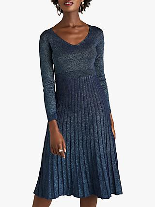 Yumi Glitter Pleated Knit Dress, Navy