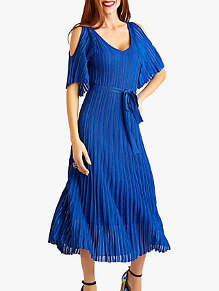 Yumi Cold Shoulder Midi Dress, Blue