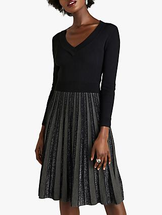 Yumi Glitter Pleated Knit Dress, Black