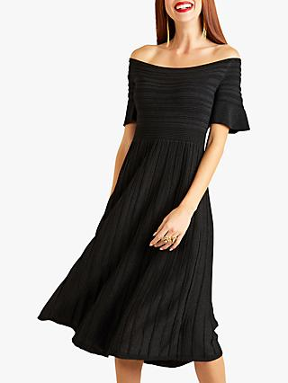 Yumi Bardot Rib Knit Dress, Black