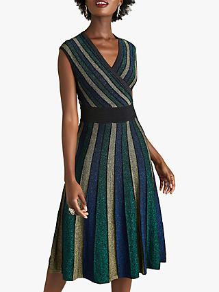 Yumi Stripe Cross Over Party Dress, Multi