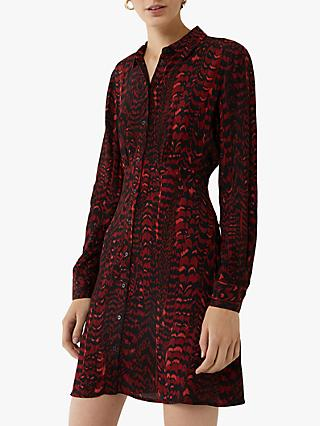 Warehouse Feather Print Shirt Dress, Red Pattern