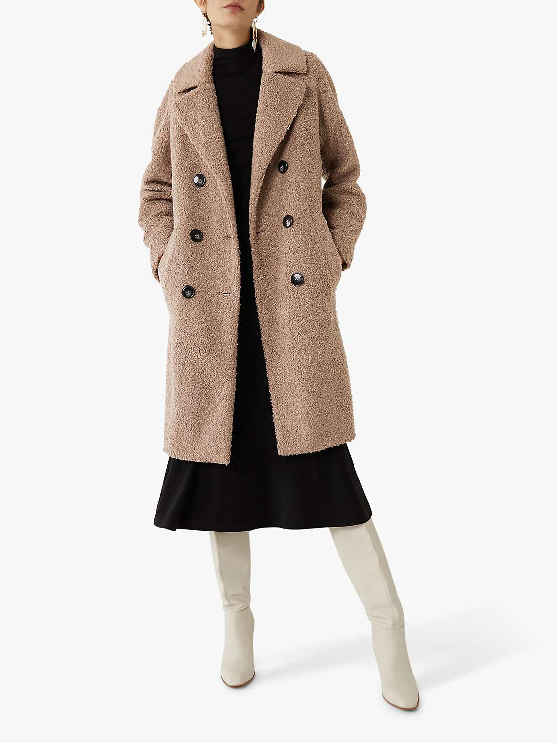 warehouse-faux-fur-double-breasted-teddy-coat,-mink by john-lewis