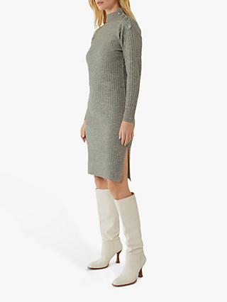 Warehouse Button Detail Wide Ribbed Jumper Dress, Light Grey