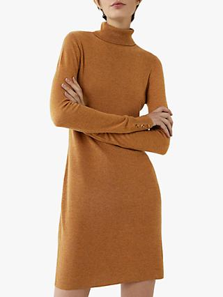Warehouse Roll Neck Button Mini Dress, Tan