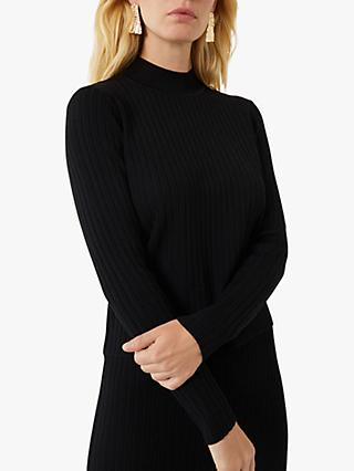 Warehouse Ribbed High Neck Knit Jumper, Black