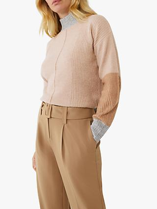 Warehouse Colour Block Cardigan, Camel